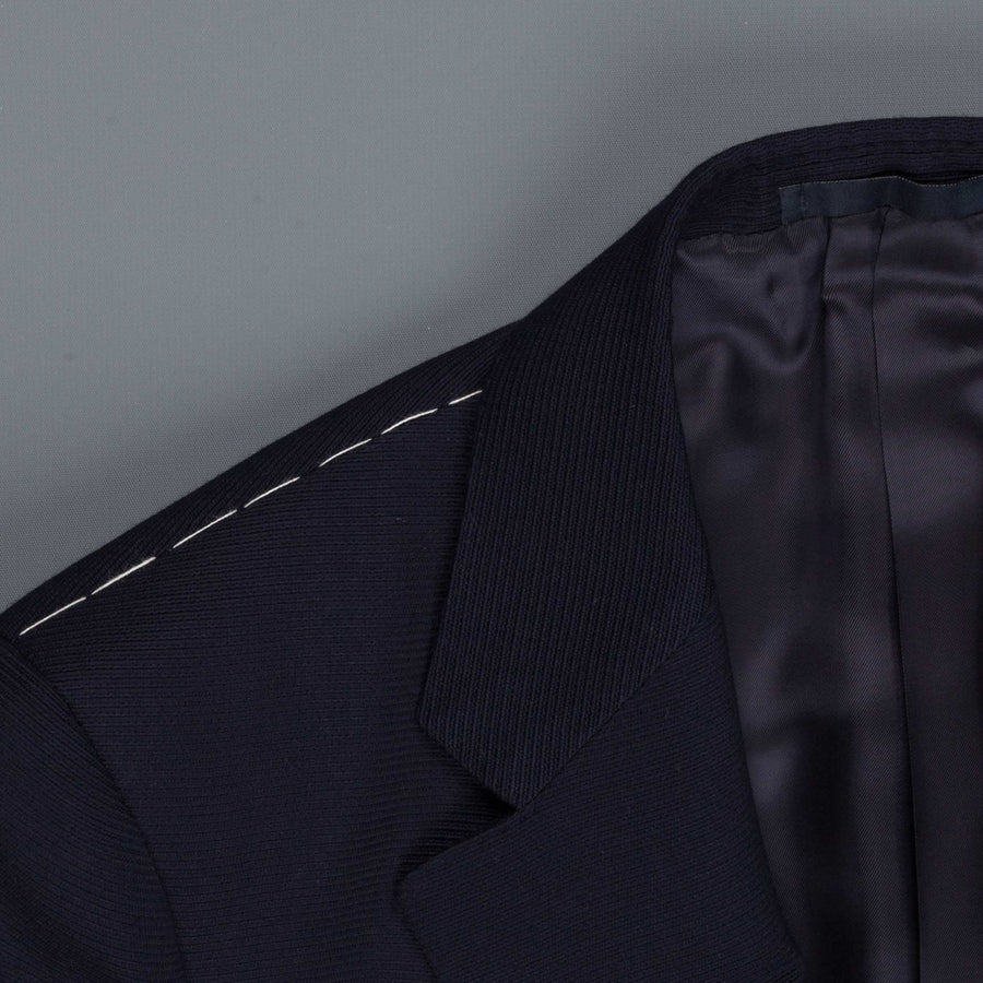 Caruso Nabucco single breasted jacket in navy ottoman wool