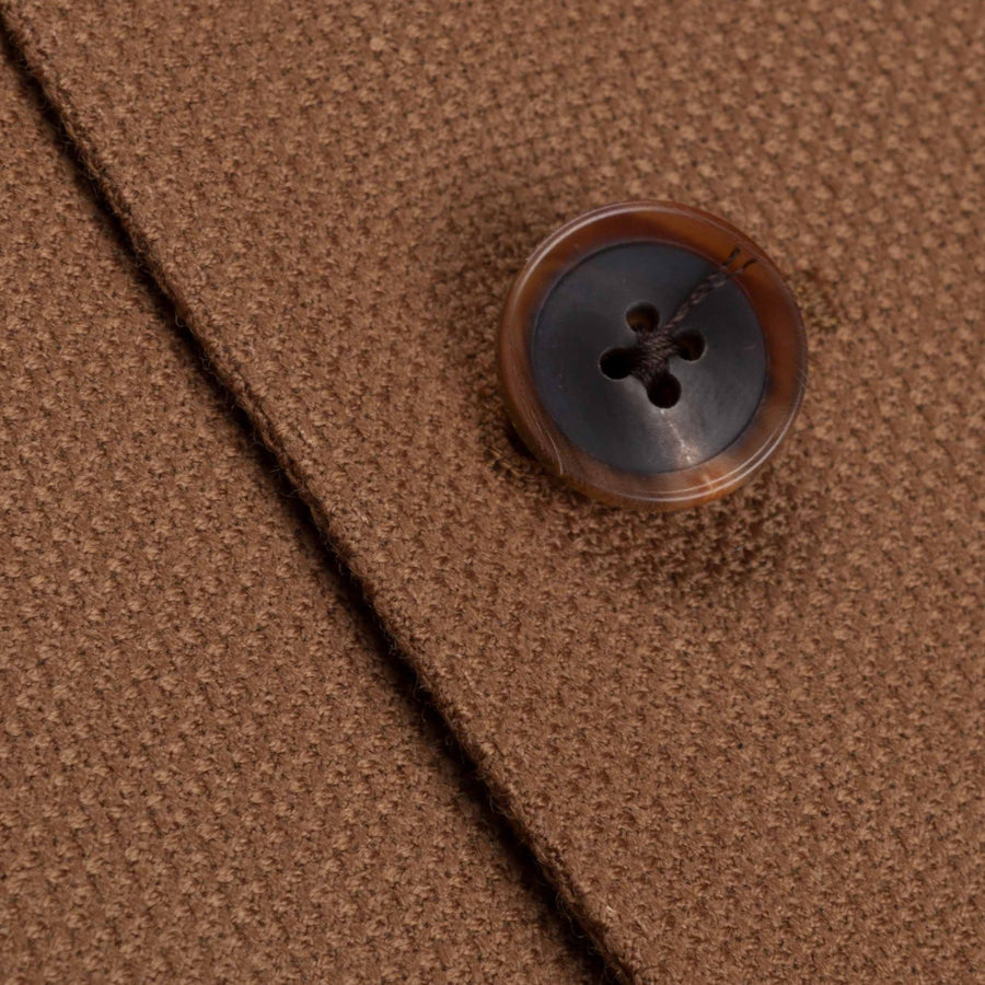 Caruso Nabucco single breasted jacket in camel hopsack wool