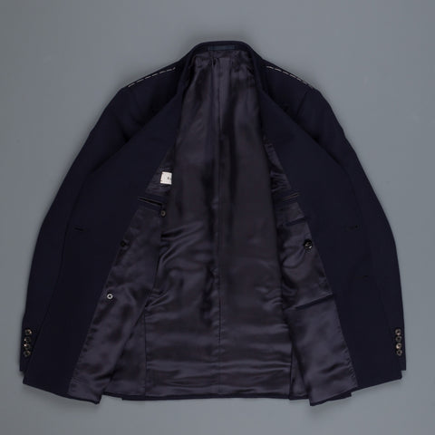Caruso Nabucco double breasted jacket in Navy ottoman wool