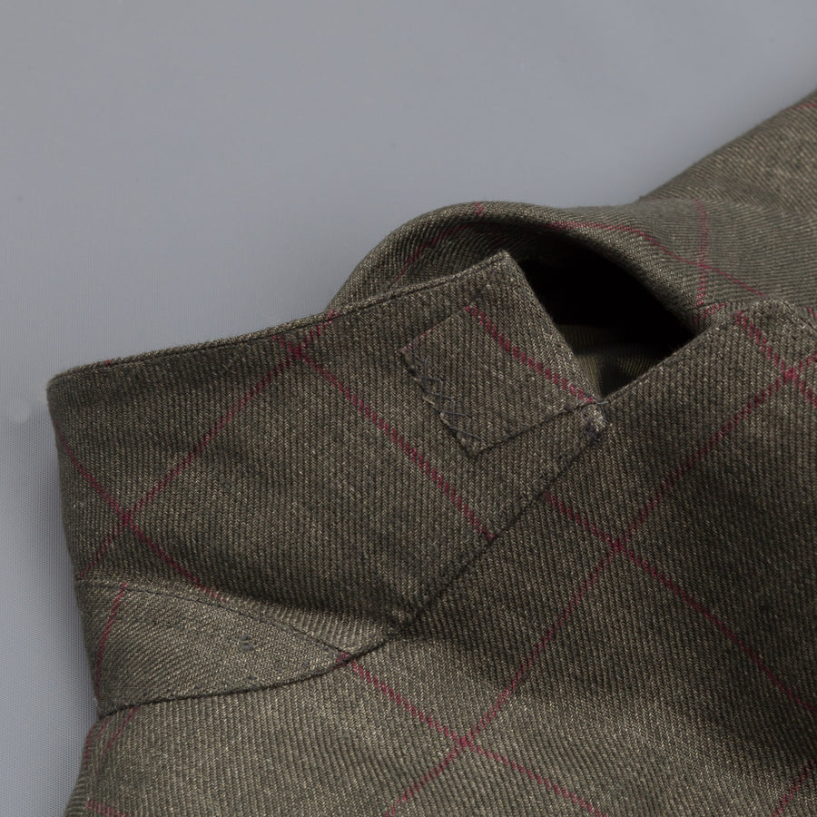 Caruso Aida linen jacket green windowpane