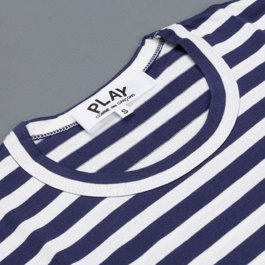 Woman Play Comme des Garçons striped tee red heart navy/white