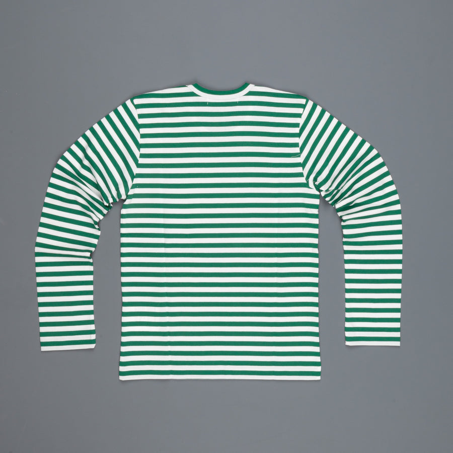 Woman Play Comme des Garçons striped tee red heart Green/white