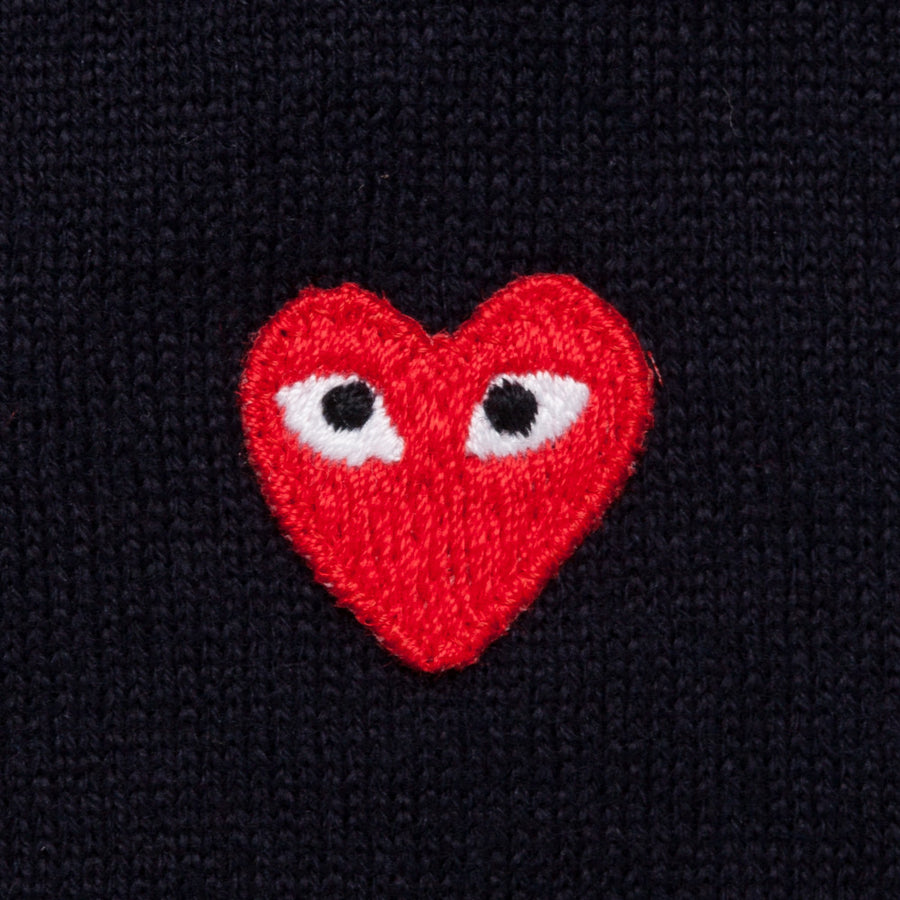 Comme des Garçons play cotton cardigan red heart navy