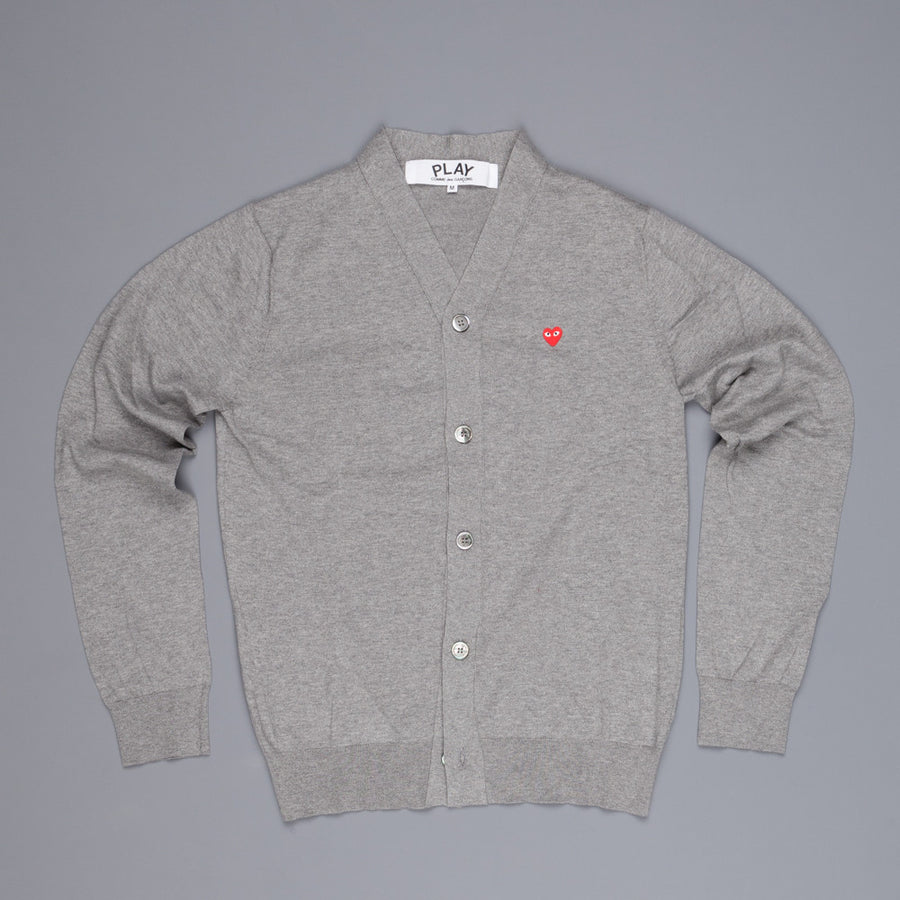 Comme des Garçons play  cotton cardigan red heart grey