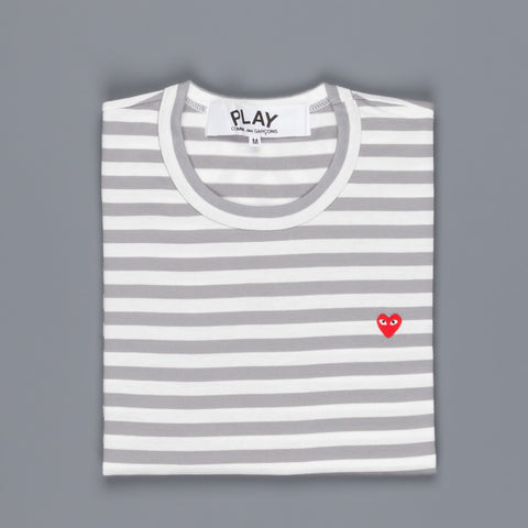 Play Comme des Garçons Striped tee small red heart grey-white