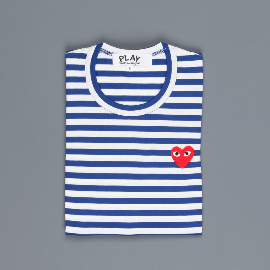 Woman Play Comme des Garçons striped tee red heart Blue-White