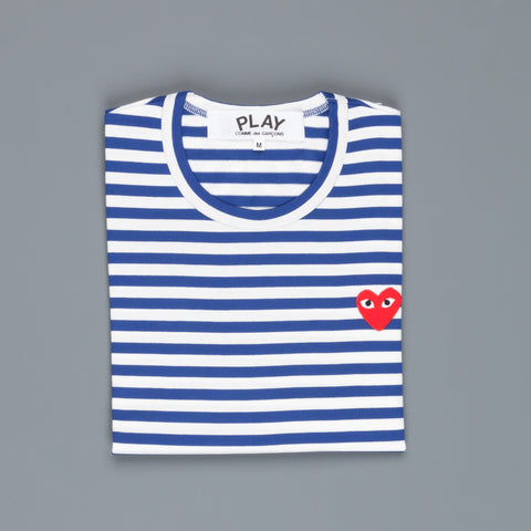 Comme des Garçons Striped tee red heart blue-white