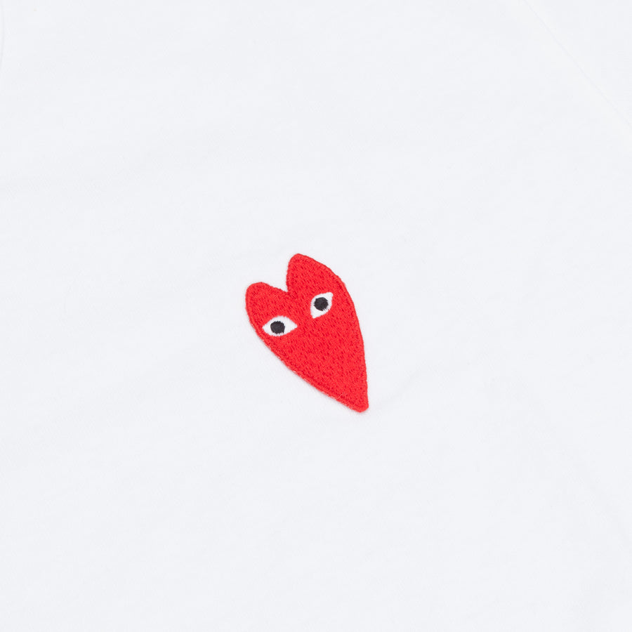 Women Play Comme des Garçons Tshirt Long Red heart White