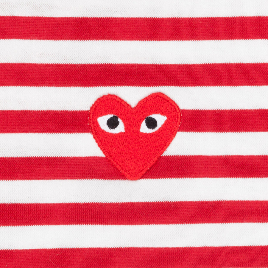Comme des Garçons Striped tee red heart red-white