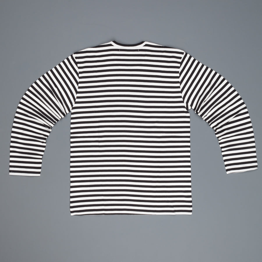 Comme des Garçons Striped tee red heart black-white