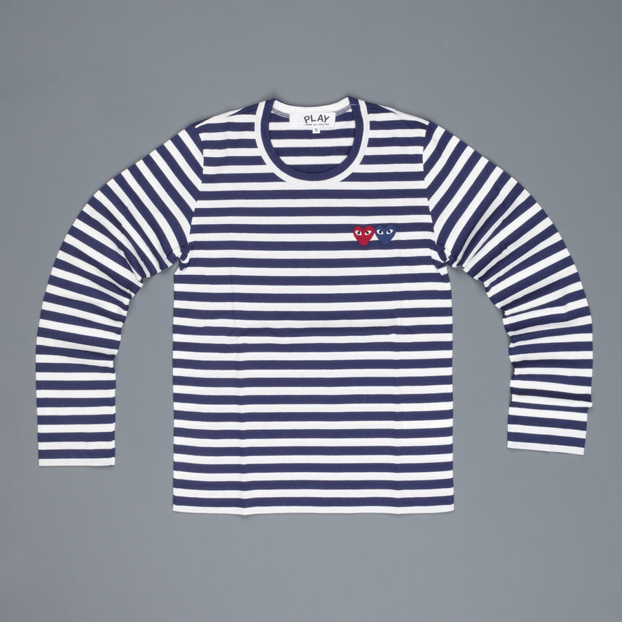 Woman Play Comme des Garçons striped tee double heart Navy-White