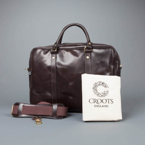 Croots bridle leather dark havana laptop sleeve