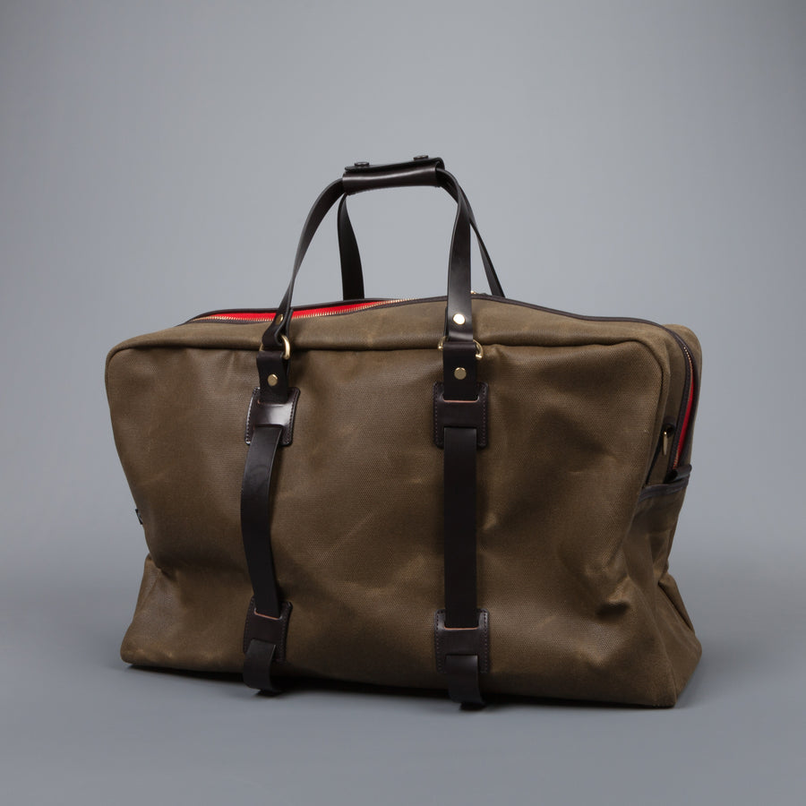 Croots Vintage waxed canvas Holdall Large olive