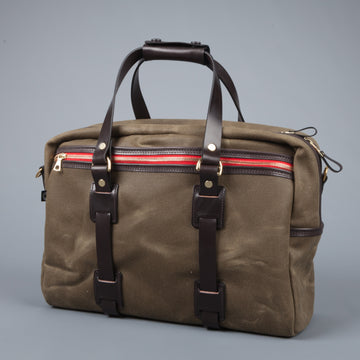 Croots Vintage waxed canvas traveller bag Olive