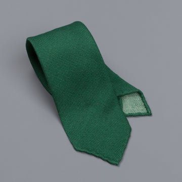 Drake's untipped tie wool/cashmere/silk blend green