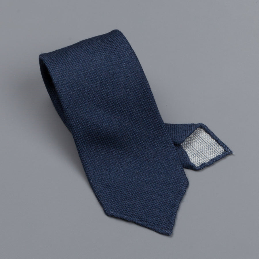 Drake's untipped tie wool/cashmere/silk blend navy
