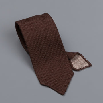 Drake's untipped tie wool/cashmere/silk blend brown