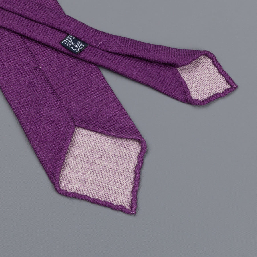 Drake's untipped tie wool/cashmere/silk blend violet