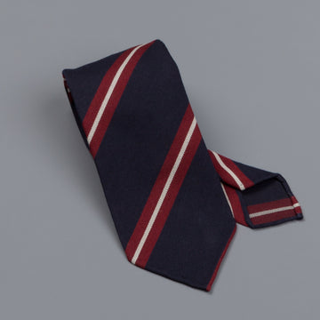 Drake's untipped club tie red stripe navy