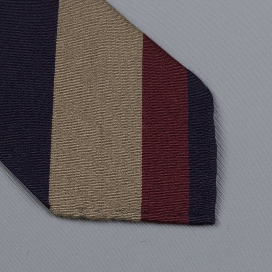 Drake's untipped club tie navy olive striped