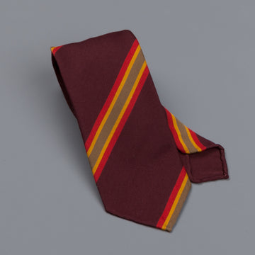 Drake's untipped club tie olive/red stripe burgundy
