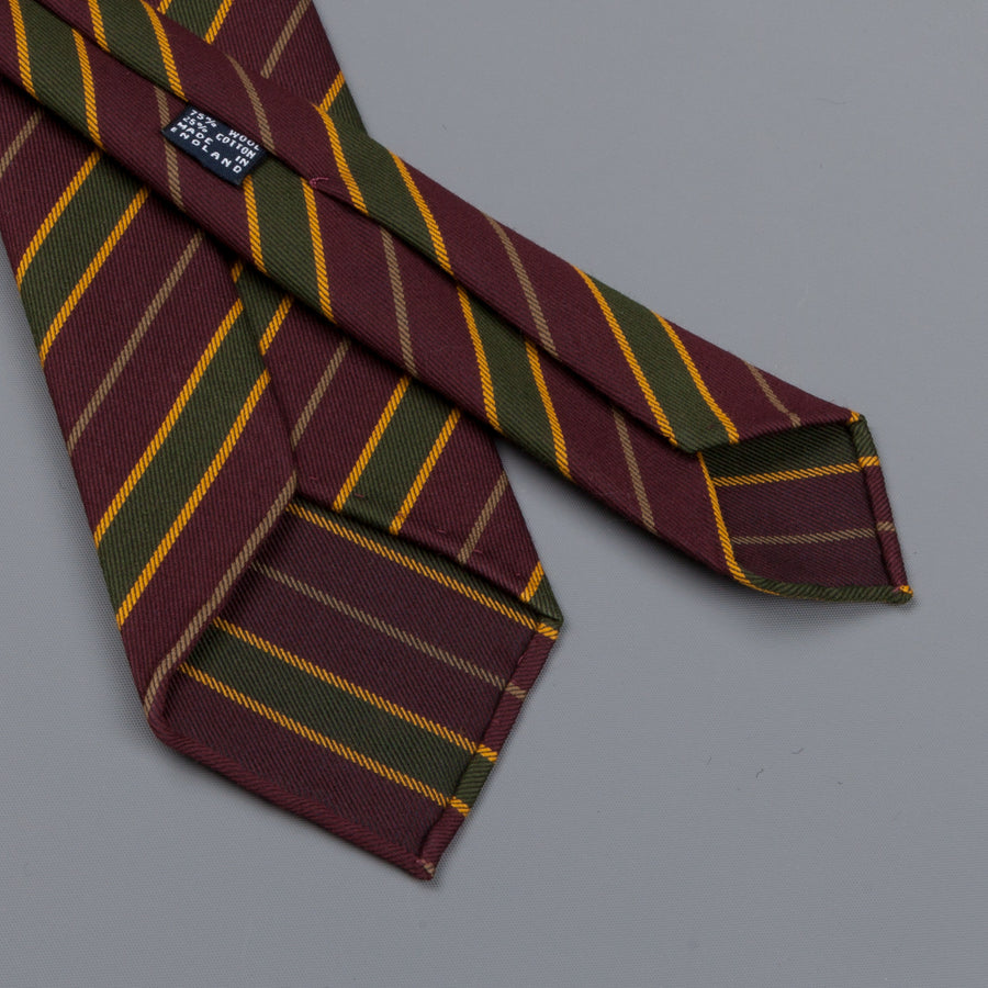Drake's untipped club tie forest green stripe burgundy