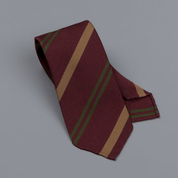 Drake's untipped club tie gold stripe burgundy