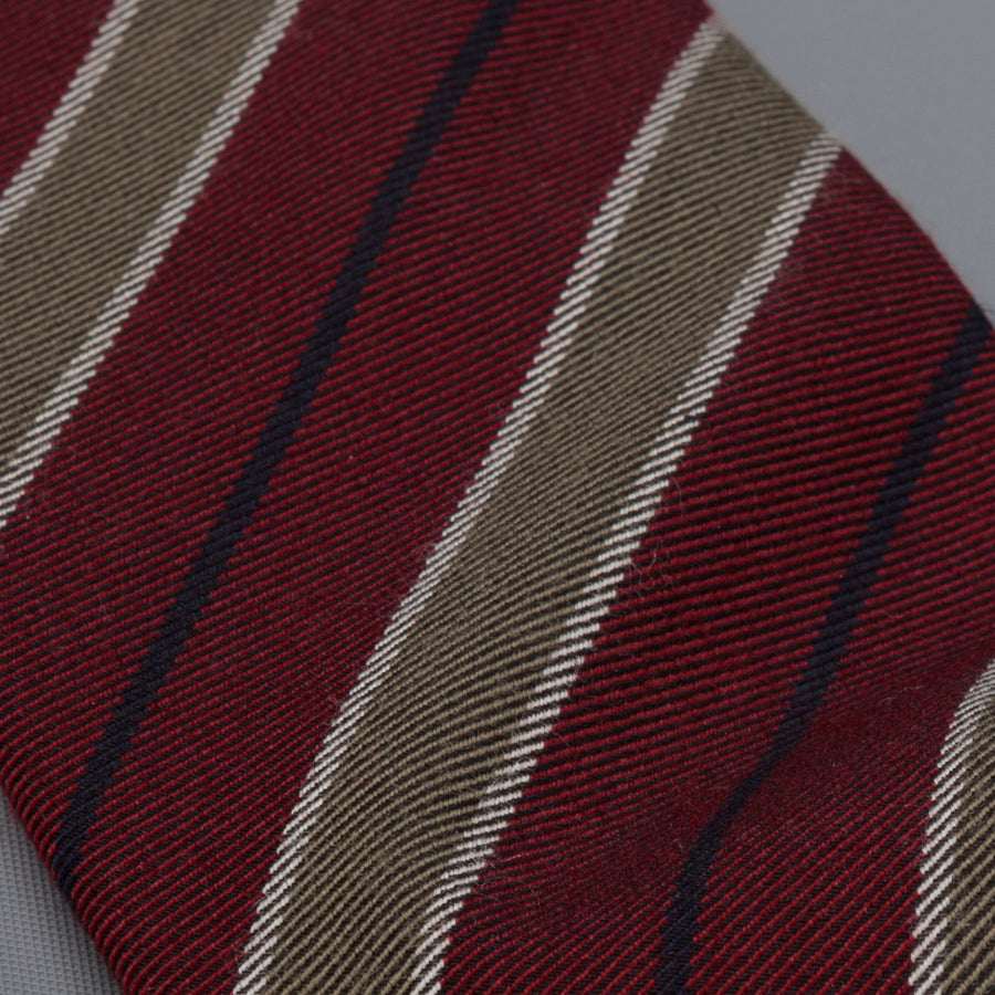 Drake's untipped club tie olive stripe bordeaux