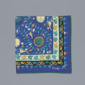 Drake´s botanic pocket square cotton blend blue