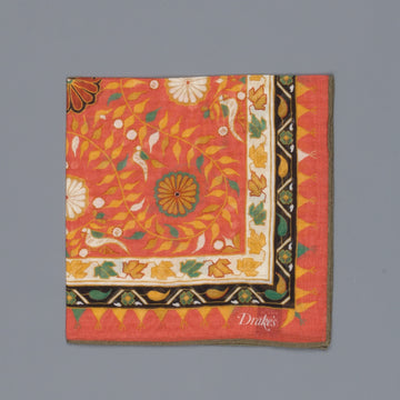 Drake´s botanic pocket square cotton blend rust