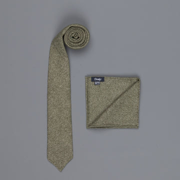 Drake's Cashmere Tie untipped & Pocket Square Match forest melange