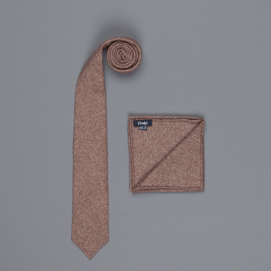 Drake's Cashmere Tie untipped & Pocket Square Match brown melange