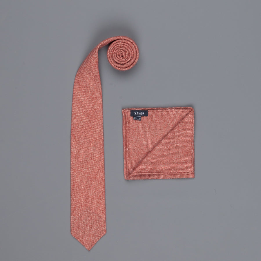 Drake's Cashmere Tie untipped & Pocket Square Match cherry melange