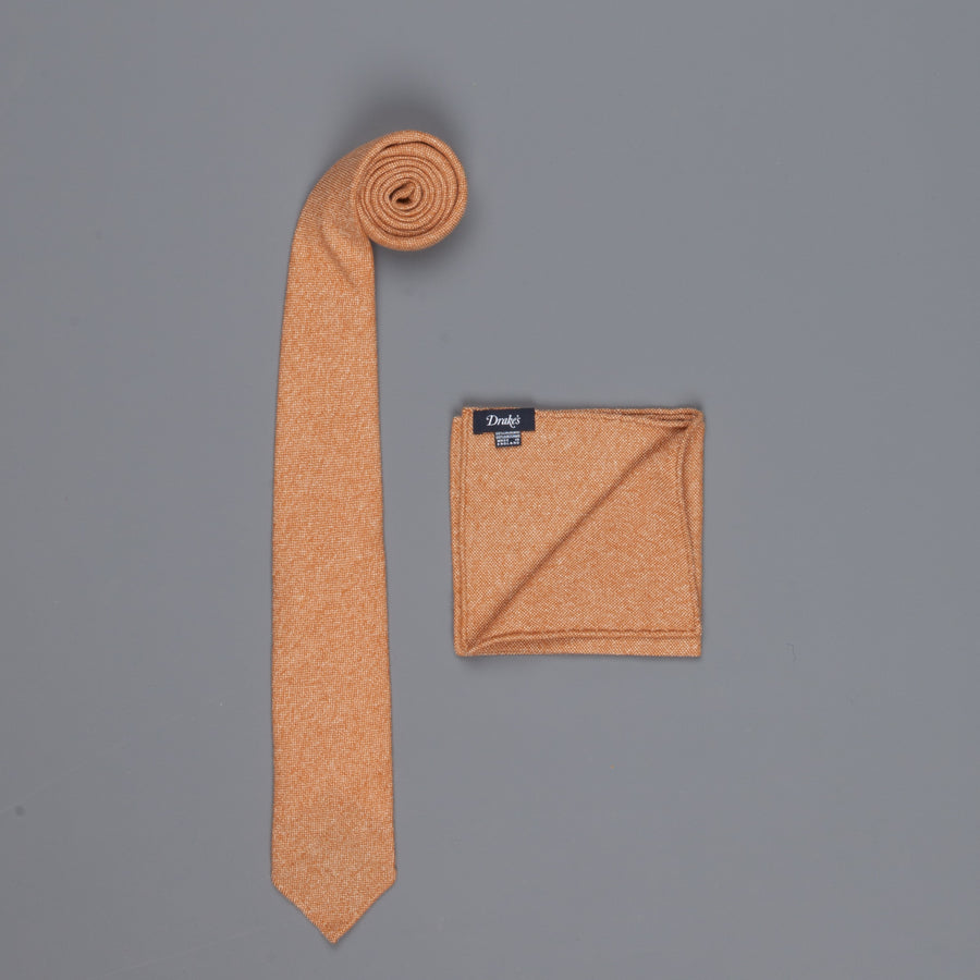 Drake's Cashmere Tie untipped & Pocket Square Match dark orange melange