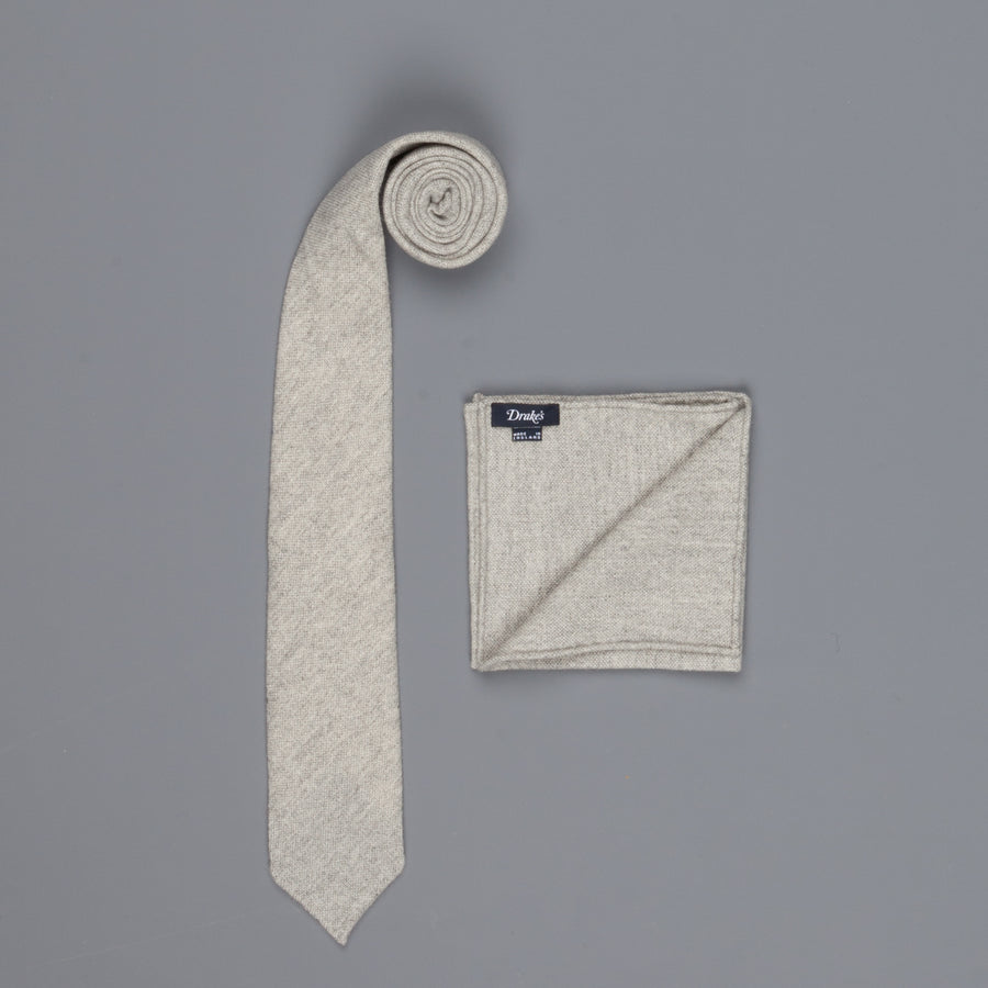 Drake's Cashmere Tie untipped & Pocket Square Match light grey melange