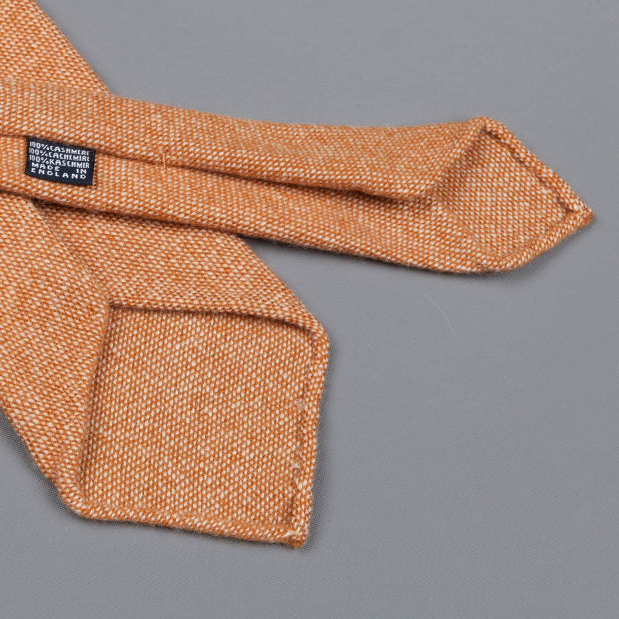 Drake's Cashmere Tie untipped dark orange melange