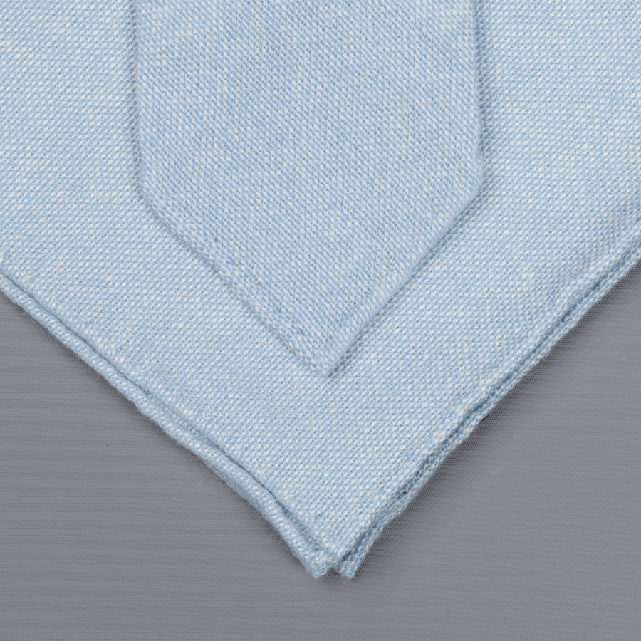 Drake's Cashmere Tie untipped & Pocket Square Match sky blue melange