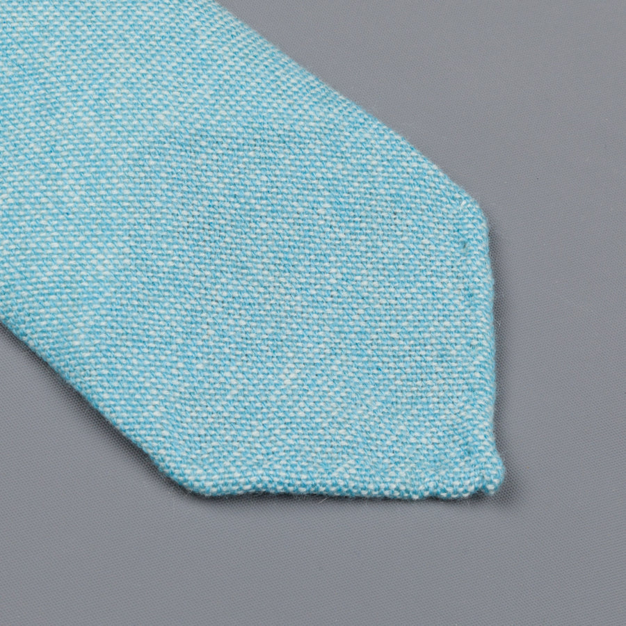 Drake's Cashmere Tie untipped turquoise melange
