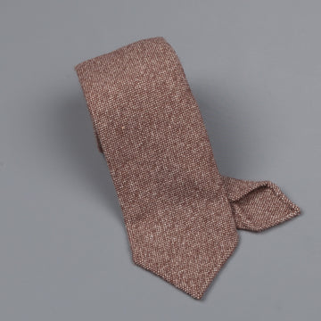 Drake's Cashmere Tie untipped brown melange