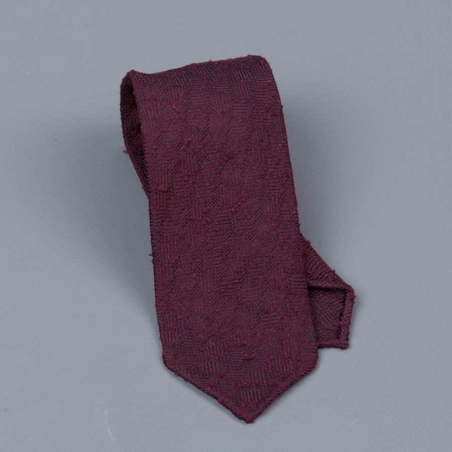 Drakes untipped basketweave tie in shantung silk burgundy