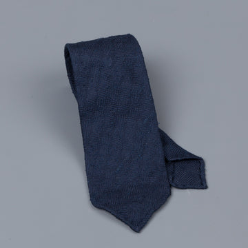Drakes untipped basketweave tie in shantung silk Navy