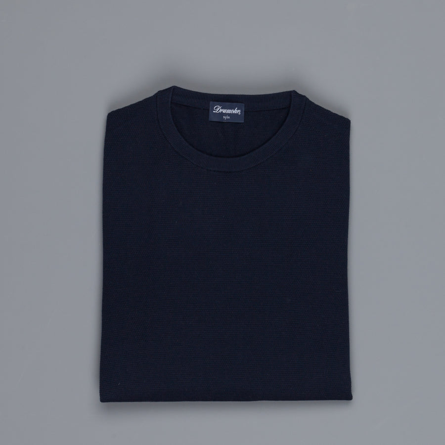 Drumohr Cotton Crew Neck Navy