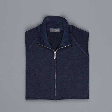 Drumohr merino wool zip raglan sweater navy