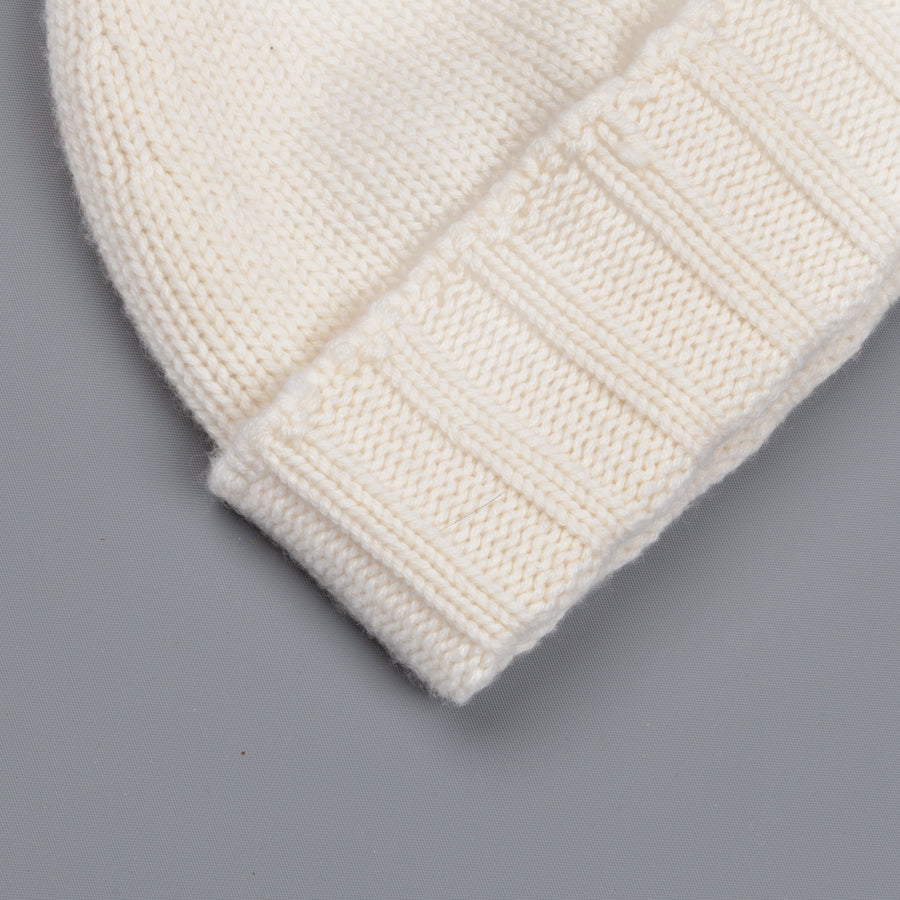 Drumohr Ribbed Cashmere Hat Off White