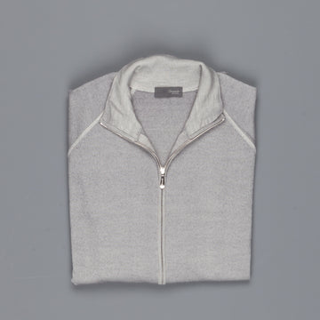 Drumohr merino wool zip raglan sweater grey