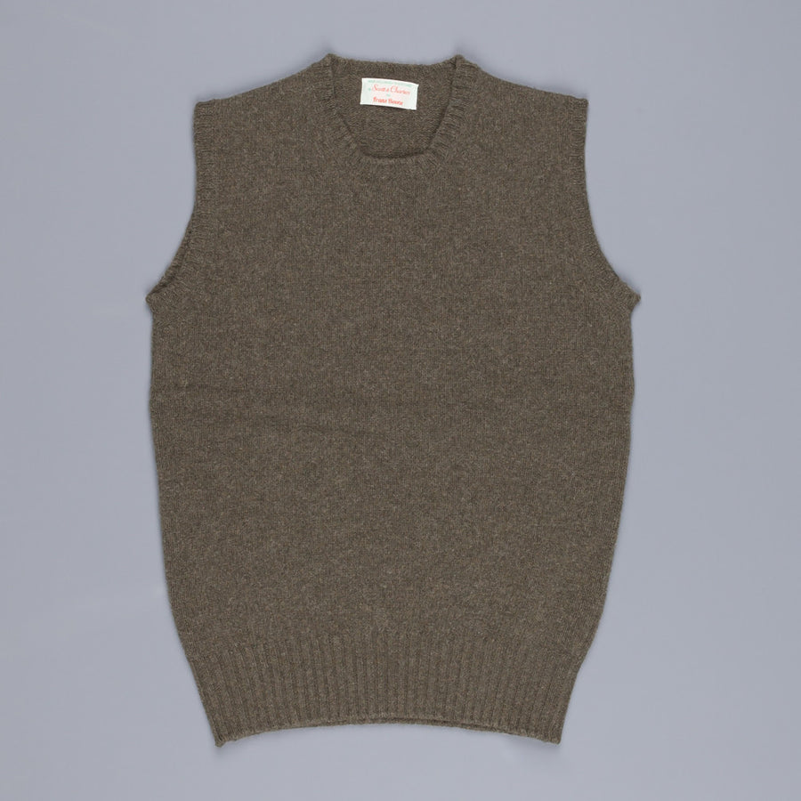 Scott & Charters x Frans Boone triple thread sleeveless crew neck Loden
