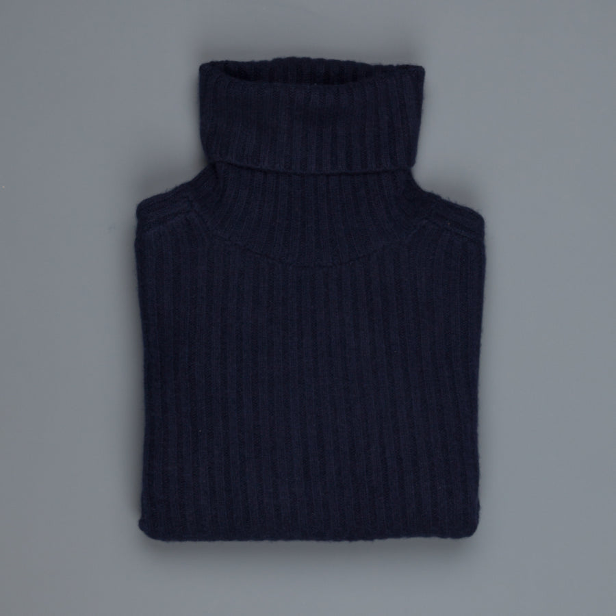 The Elder Statesman100% cashmere Plaited Rib Turtleneck Navy