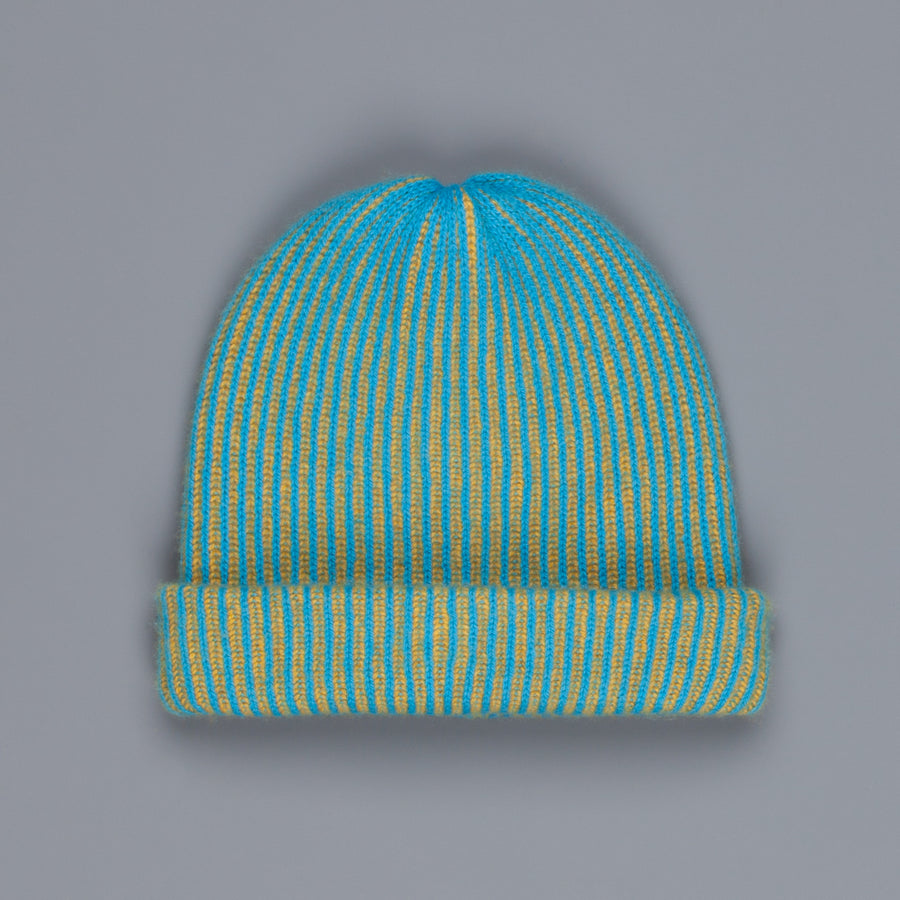 The Elder Statesman 100% Cashmere Watchman cap in Teal/Yellow
