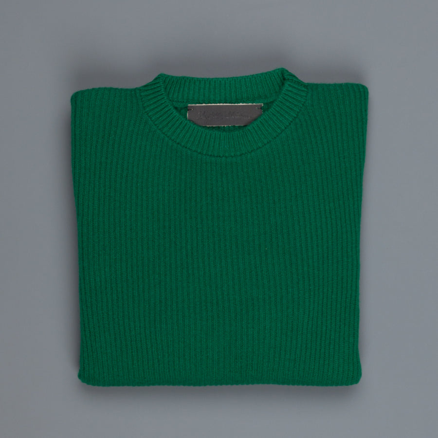 The Elder Statesman 100% cashmere medium ribbed crew Kelly Green