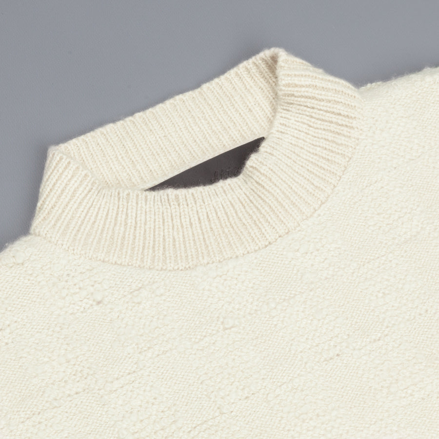 The Elder Statesman 100% cashmere Checkered Pile stitch crew White